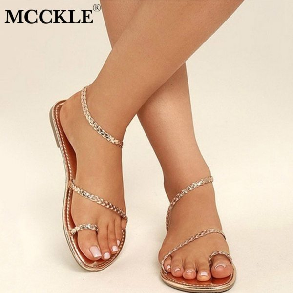 MCCKLE Plus Size Thong Sandals Summer Women Flip Flops Weaving Casual Beach Flat With Shoes Rome MCCKLE Plus Size Thong Sandals Summer Women Flip Flops Weaving Casual Beach Flat With Shoes Rome Style Female Sandal Low Heels