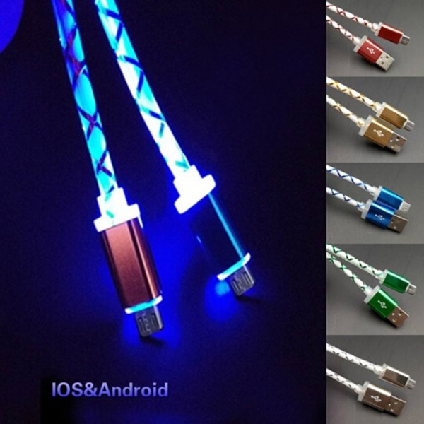Micro USB Phone Cable Visible LED Flow Light Micro USB Charging Data Sync Cable for Android Micro USB Phone Cable Visible LED Flow Light Micro USB Charging Data Sync Cable for Android Phone Universal Phone 1M Cables