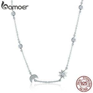 Mid Year Sales 925 Sterling Silver Sparkling Moon and Star Exquisite Pendant Necklaces for Women 925 Innrech Market.com