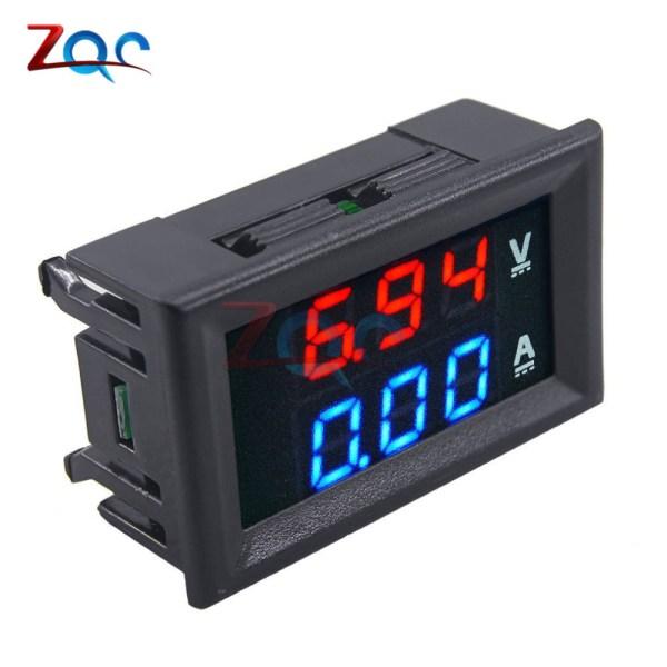 """Mini Digital Voltmeter Ammeter DC 100V 10A Panel Amp Volt Voltage Current Meter Tester Detector 0 1 Mini Digital Voltmeter Ammeter DC 100V 10A Panel Amp Volt Voltage Current Meter Tester Detector 0.56"""" Dual LED Display Auto Car"""