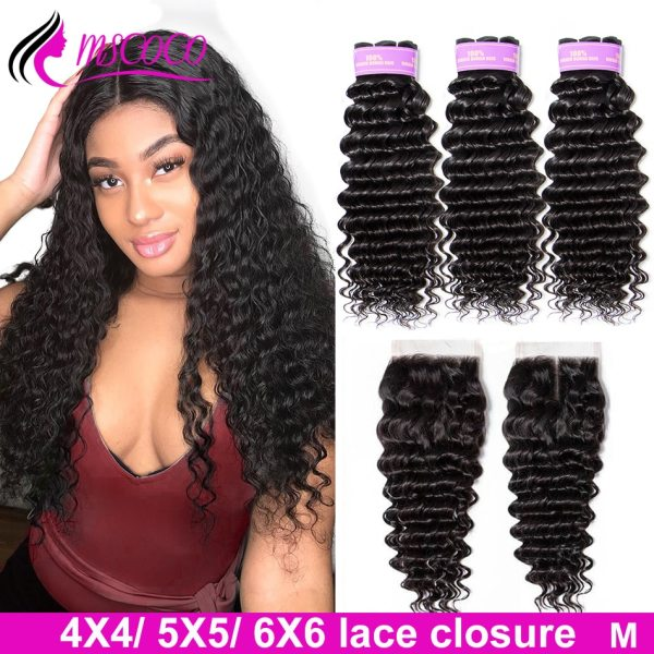 Mscoco Hair Brazilian Deep Wave Bundles With Closure 5x5 Closure With Bundles Remy Human Hair 6x6 1 Mscoco Hair Brazilian Deep Wave Bundles With Closure 5x5 Closure With Bundles Remy Human Hair 6x6 Closure And Bundles M Ratio
