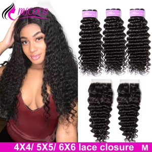Mscoco Hair Brazilian Deep Wave Bundles With Closure 5x5 Closure With Bundles Remy Human Hair 6x6 1 Innrech Market.com