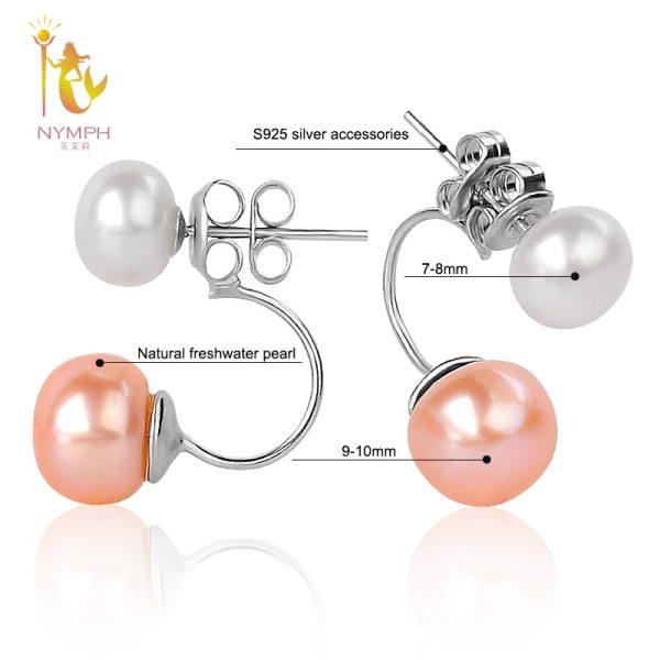 NYMPH Double Pearl Earrings For Women Pearl Jewelry Natural Freshwater Pearl Stud Earrings 925 Silver 1 [NYMPH] Double Pearl Earrings For Women Pearl Jewelry Natural Freshwater Pearl Stud Earrings 925 Silver Fine Jewelry E205F