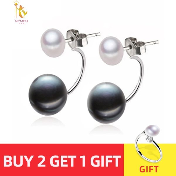 NYMPH Natural Pearl Stud Earrings Jewelry S925 Sterling Silver Genuine White Black Double Pearl Earrings Party NYMPH Natural Pearl Stud Earrings Jewelry S925 Sterling Silver Genuine White Black Double Pearl Earrings Party [E205]
