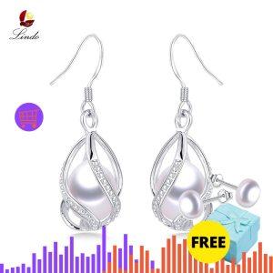 Natural Freshwater Pearl Drop Earrings For Women Elegant 925 Sterling Silver Anti allergy Earrings DIY Cage Innrech Market.com