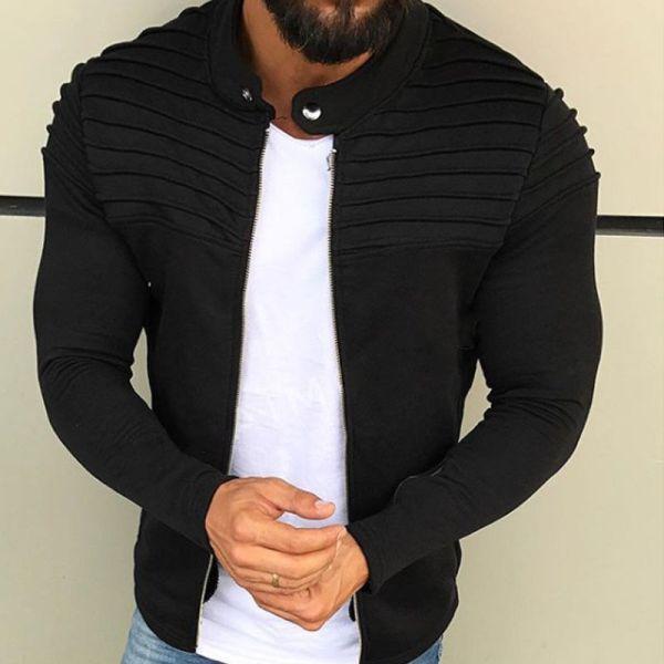 New Men s Winter Zip up Slim Collar Shoulder Ruched Jacket Tops Long Sleeve Casual Coat New Men's Winter Zip up Slim Collar Shoulder Ruched Jacket Tops Long Sleeve Casual Coat Outerwear Fleece jacket