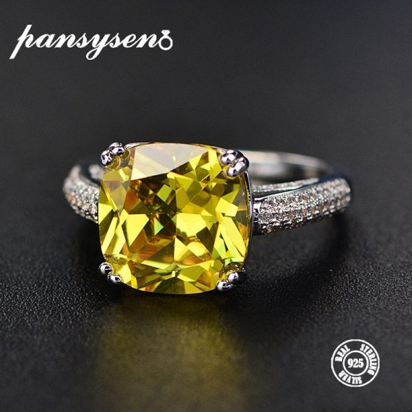 PANSYSEN Natural Citrine Gemstone Rings For Women 100 Genuine 925 Sterling Silver Jewelry Ring Fashion Wedding PANSYSEN Natural Citrine Gemstone Rings For Women 100% Genuine 925 Sterling Silver Jewelry Ring Fashion Wedding Engagement Gifts