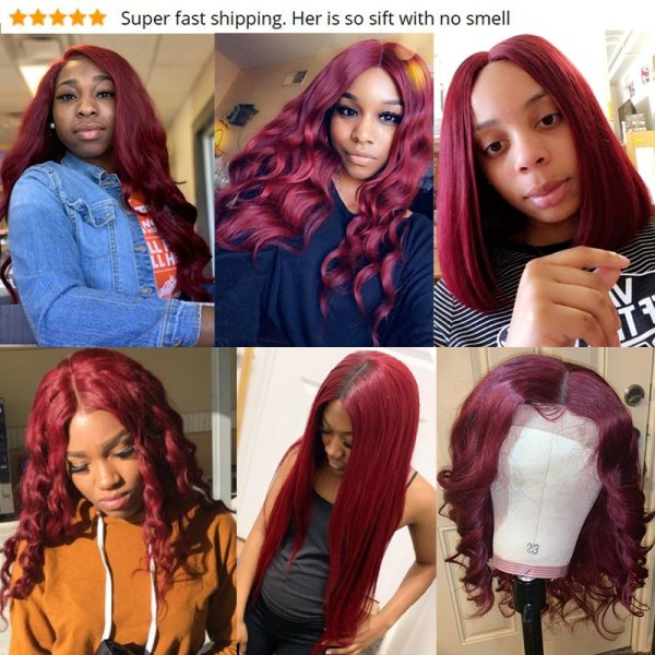 Pinshair 99J Hair Red Burgundy Bundles With Closure Brazilian Body Wave Human Hair Weave Bundles With 5 Pinshair 99J Hair Red Burgundy Bundles With Closure Brazilian Body Wave Human Hair Weave Bundles With Closure Non Remy No Tangle