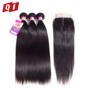 QLOVE HAIR Brazilian Hair Extensions Straight Human Hair 3 Bundles With Closure Non Remy Natural Color Innrech Market.com