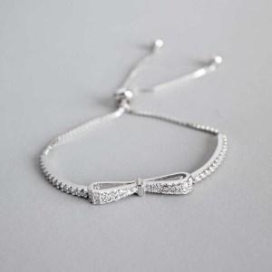 Ruifan Fashion Box Chain Bowknot 100 925 Sterling Silver Bracelet Ladies Cubic Zircon Bracelets Female Women Innrech Market.com