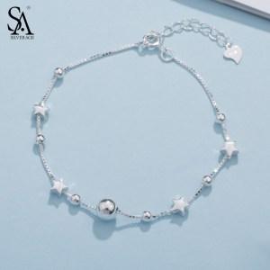 SA SILVERAGE 925 Sterling Silver Charms Bracelets Bangles for Women 925 Silver Star Ball Chain Link Innrech Market.com
