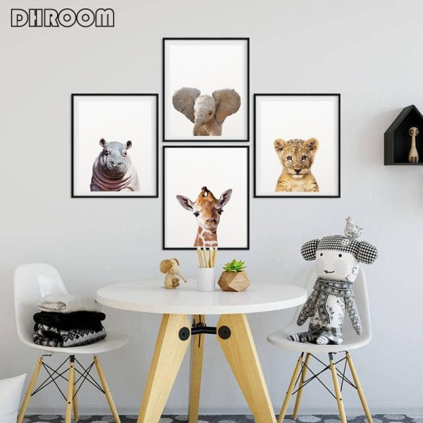 Safari Baby Animals Canvas Poster Nursery Lion Tiger Wall Art Print Modern Animal Painting Nordic Kid 1 Safari Baby Animals Canvas Poster Nursery Lion Tiger Wall Art Print Modern Animal Painting Nordic Kid Bedroom Decoration Picture