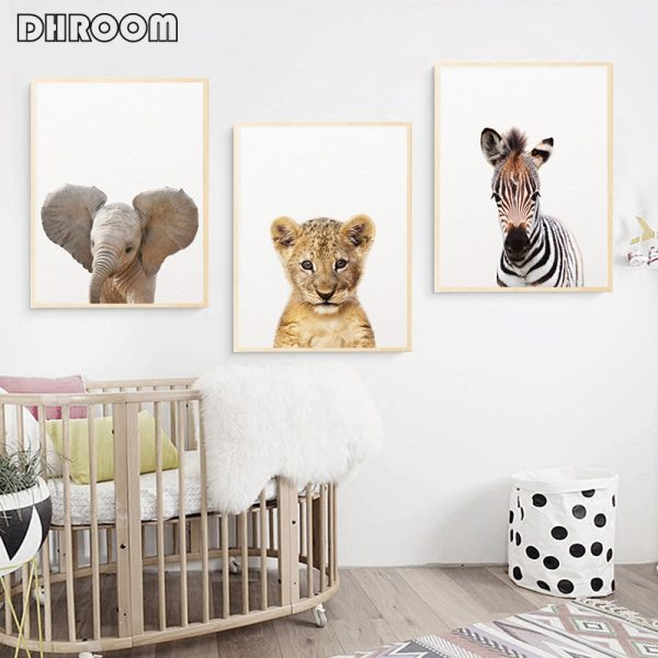 Safari Baby Animals Canvas Poster Nursery Lion Tiger Wall Art Print Modern Animal Painting Nordic Kid 2 Safari Baby Animals Canvas Poster Nursery Lion Tiger Wall Art Print Modern Animal Painting Nordic Kid Bedroom Decoration Picture