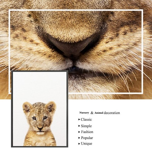 Safari Baby Animals Canvas Poster Nursery Lion Tiger Wall Art Print Modern Animal Painting Nordic Kid 4 Safari Baby Animals Canvas Poster Nursery Lion Tiger Wall Art Print Modern Animal Painting Nordic Kid Bedroom Decoration Picture