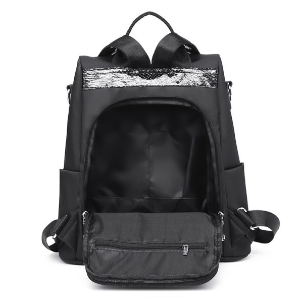 Simple style ladies backpack anti theft Oxford cloth tarpaulin stitching sequins juvenile college bag purse Bagpack 5 Simple style ladies backpack anti-theft Oxford cloth tarpaulin stitching sequins juvenile college bag purse Bagpack Mochila