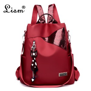 Simple style ladies backpack anti theft Oxford cloth tarpaulin stitching sequins juvenile college bag purse Bagpack Innrech Market.com