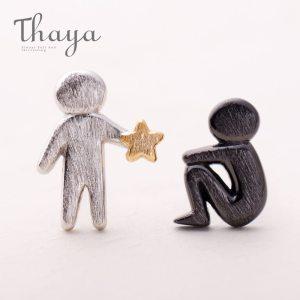 Thaya Picking Gold Stars for You Design Stud Earrings s925 Silver Asymmetry Figure Earring for Women Innrech Market.com