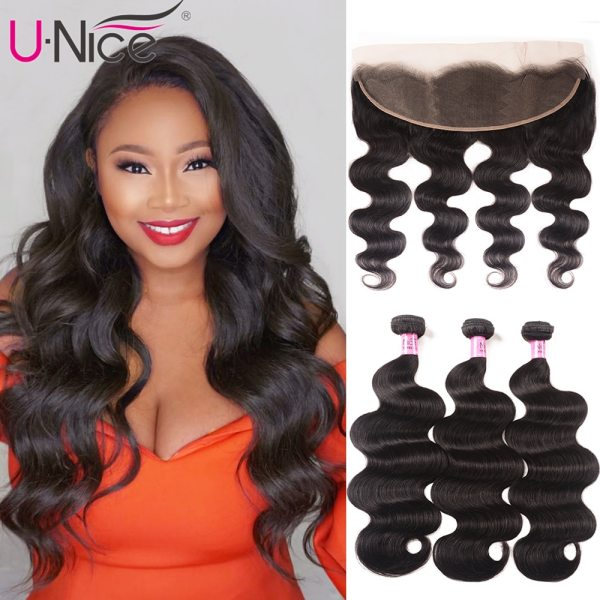 UNice Hair Brazilian Body Wave Transparent Lace Frontal With 3 4 Bundles 13x4 6 Remy Human UNice Hair Brazilian Body Wave Transparent Lace Frontal With 3/4 Bundles 13x4/6 Remy Human Hair Bundle Lace Closure 4/5PCS