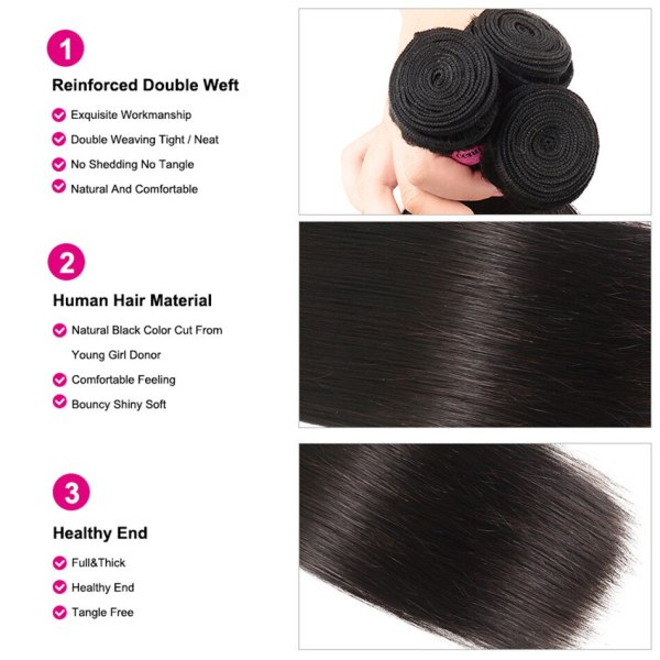 UNice Hair Transparent Lace With Closure 8 30 Malaysian Straight Hair 3 Bundles with Closure Remy 4 UNice Hair Transparent Lace With Closure 8-30 Malaysian Straight Hair 3 Bundles with Closure Remy Human Hair Extension Bundles