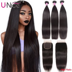 UNice Hair Transparent Lace With Closure 8 30 Malaysian Straight Hair 3 Bundles with Closure Remy Innrech Market.com