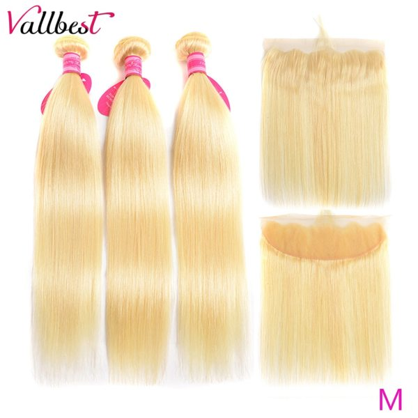 Vallbest 613 Bundles With Frontal Middle Ratio Brazilian Straight Hair 3 Bundles With Closure Remy Blonde Vallbest 613 Bundles With Frontal Middle Ratio Brazilian Straight Hair 3 Bundles With Closure Remy Blonde Bundles With Frontal