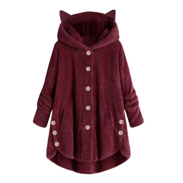 Women Flannel Coat Pockets Solid fleece Tops Hooded Pullover Loose Hoodies Plus Size Cat Ear Cute 5 Women Flannel Coat Pockets Solid fleece Tops Hooded Pullover Loose Hoodies Plus Size Cat Ear Cute Womens Warm Sweatshirt 2019