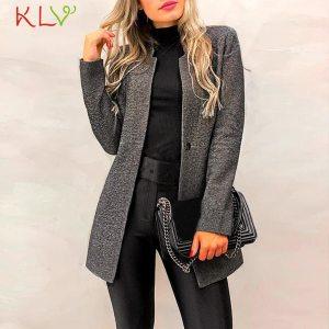 Women Jacket Elegant Office Lady Slim Suit Long Sleeve Woolen Coat Winter Casual Windbreaker PlusSize 2019 Innrech Market.com