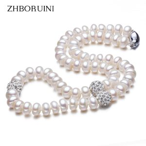 ZHBORUINI 2019 Pearl Necklace 925 Sterling Silver Jewelry For Women 8 9mm Crystal Ball Natural Freshwater Innrech Market.com