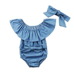 2019 Summer Cute Baby Girls Romper Denim Rompers Set Sleeveless Jumpsuit With Headband 0 24M Children Innrech Market.com