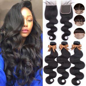 BEAUDIVA Brazilian Hair Body Wave 3 Bundles With Closure Human Hair Bundles With Closure Lace Closure Innrech Market.com