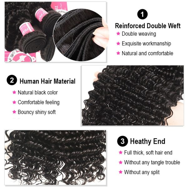 Deep Wave Human Hair Bundles With Closure 6x6 Free Part Pre Plucked Brazilian Bundles With Closure 1 Deep Wave Human Hair Bundles With Closure 6x6 Free Part Pre Plucked Brazilian Bundles With Closure Remy Hair Extension AliPearl