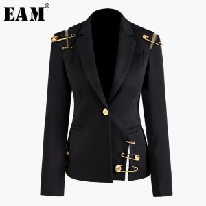 EAM Loose Fit Black Hollow Out Pin Spliced Jacket New Lapel Long Sleeve Women Coat Innrech Market.com