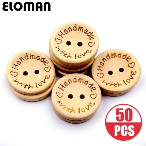 ELOMAN 50PCS lot Natural Color Wooden Buttons handmade love Letter wood button craft DIY baby apparel ELOMAN 50PCS/lot Natural Color Wooden Buttons handmade love Letter wood button craft DIY baby apparel accessories