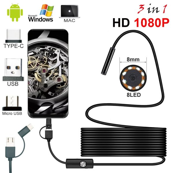 New 8 0mm Endoscope Camera 1080P HD USB Endoscope with 8 LED 1 2 5M Cable New 8.0mm Endoscope Camera 1080P HD USB Endoscope with 8 LED 1/2/5M Cable Waterproof Inspection Borescope for Android PC