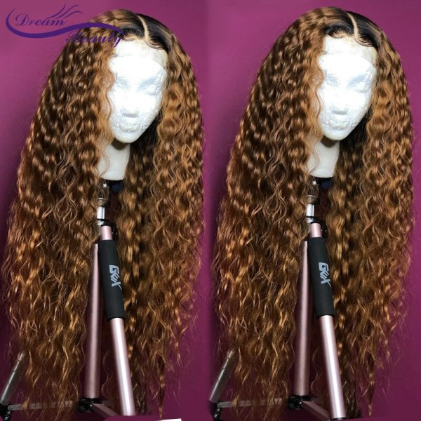 Ombre Blonde Curly Wig 13x4 Lace Front Human Hair Wigs Pre Plucked Ombre 1B 27 Color Ombre Blonde Curly Wig 13x4 Lace Front Human Hair Wigs Pre Plucked Ombre 1B/27 Color Brazilian Remy Hair Baby Hair Dream Beauty