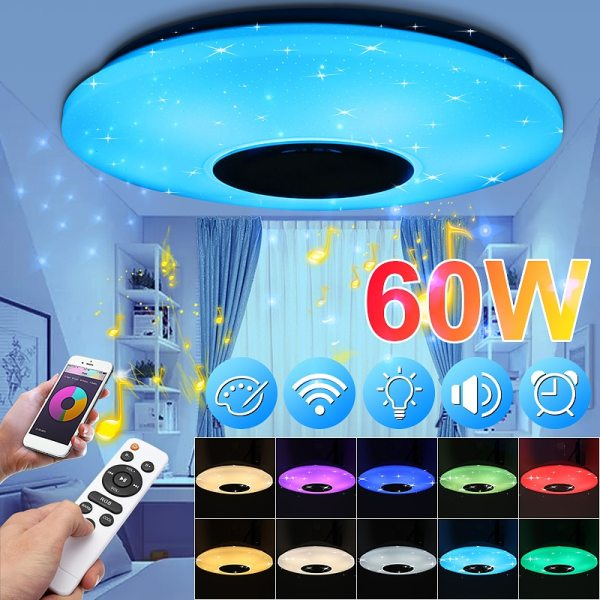 Smuxi 60W 102LED bluetooth LED Music Ceiling Lights Starry APP Remote Control Dimming RGB bluetooth LED Smuxi 60W 102LED bluetooth LED Music Ceiling Lights Starry APP/Remote Control Dimming RGB bluetooth LED Lamp AC180-240V Fixtures