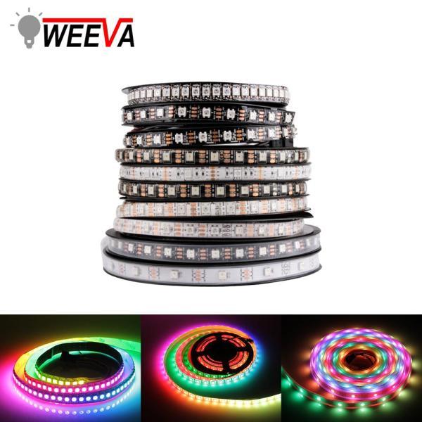 WS2812B DC 5V LED Strip RGB 50CM 1M 2M 3M 4M 5M 30 60 144 LEDs WS2812B DC 5V LED Strip RGB 50CM 1M 2M 3M 4M 5M 30/60/144 LEDs Smart Addressable Pixel Black White PCB WS2812 IC 17Key Bar