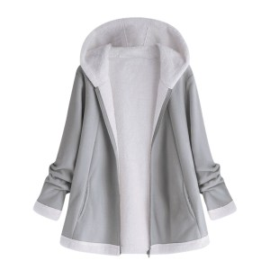 women s autumn jacket Winter warm solid Plush Hoodie Coat Fashion Pocket Zipper Long Sleeves outwear Innrech Market.com