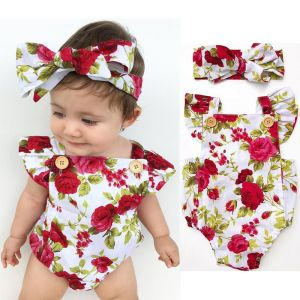 2018 Cute Floral Romper 2pcs Baby Girls Clothes Jumpsuit Romper Headband 0 24M Age Ifant Toddler Innrech Market.com