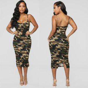 2019 Newest Fashion Summer Dress Fashion Camouflage Womens Bodycon Sleeveless Sundress Ladies Summer Beach Casual Party Innrech Market.com
