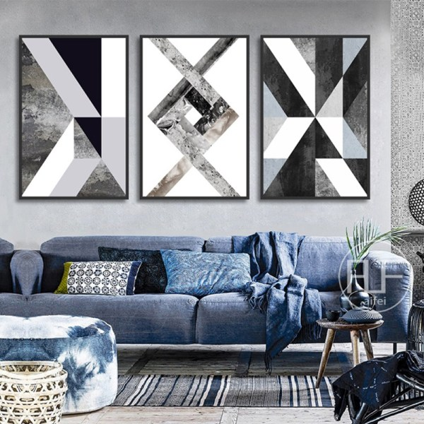 Abstract Geometric Canvas Painting Black and White Nordic Posters and Prints Wall Art Picture for Living 4 Abstract Geometric Canvas Painting Black and White Nordic Posters and Prints Wall Art Picture for Living Room Decor No Frame