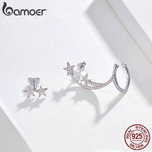 BAMOER Star Comet Asymmetry Stud Earrings for Women Clear CZ Bright Meteor Ear Stud 925 Sterling 2 BAMOER Star Comet Asymmetry Stud Earrings for Women Clear CZ Bright Meteor Ear Stud 925 Sterling Silver Jewelry Femme BSE087
