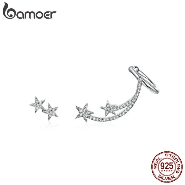 BAMOER Star Comet Asymmetry Stud Earrings for Women Clear CZ Bright Meteor Ear Stud 925 Sterling BAMOER Star Comet Asymmetry Stud Earrings for Women Clear CZ Bright Meteor Ear Stud 925 Sterling Silver Jewelry Femme BSE087
