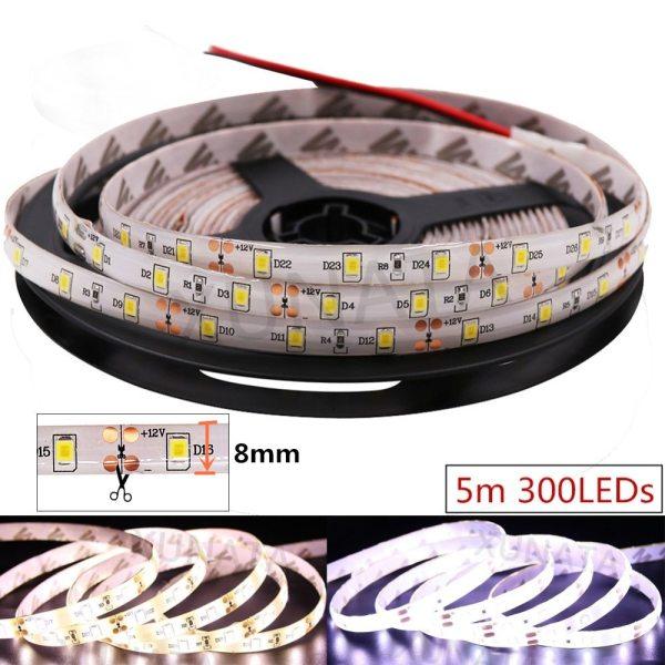 LED Strip 2835 SMD 240LEDs m 5M 300 600 1200 Leds DC12V High Bright Flexible LED 5 LED Strip 2835 SMD 240LEDs/m 5M 300/600/1200 Leds DC12V High Bright Flexible LED Rope Ribbon Tape Light Warm White / Cold White
