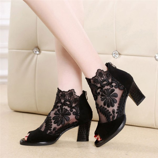 Lucyever Women Sandals Square High Heel Summer Shoes Woman Sexy Flower Lace Hollow Peep Toe Gladiator Lucyever Women Sandals Square High Heel Summer Shoes Woman Sexy Flower Lace Hollow Peep Toe Gladiator Sandalias Plus Size 35-43