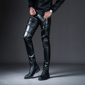 New Winter Spring Men s Skinny Leather Pants Fashion Faux Leather Trousers For Male Trouser Stage Innrech Market.com