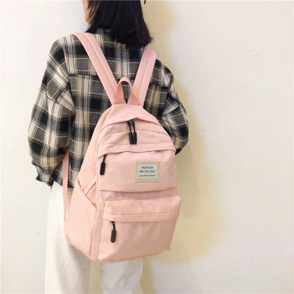 Nylon Backpack Women Backpack Solid Color Travel Bag Large Shoulder Bag For Teenage Girl Student School 2 Nylon Backpack Women Backpack Solid Color Travel Bag Large Shoulder Bag For Teenage Girl Student School Bag Bagpack Rucksack