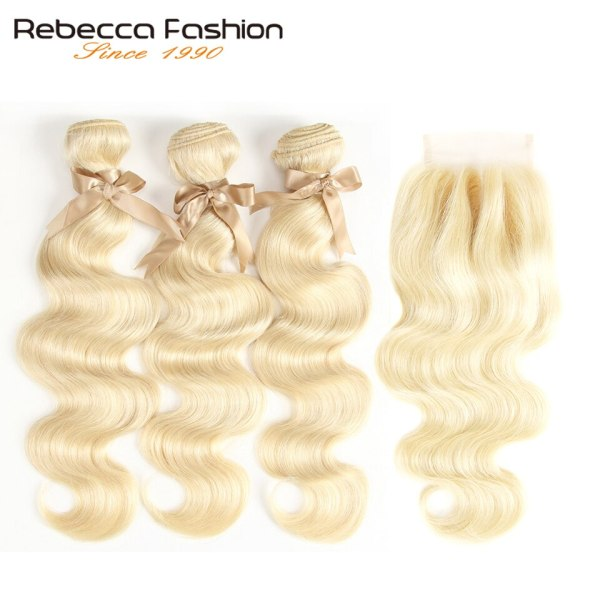 Rebecca 613 Blonde Bundles With Closure Brazilian Body Wave Remy Human Hair Weave Bundles 613 Honey 1 Rebecca 613 Blonde Bundles With Closure Brazilian Body Wave Remy Human Hair Weave Bundles 613 Honey Blonde Bundles With Closure
