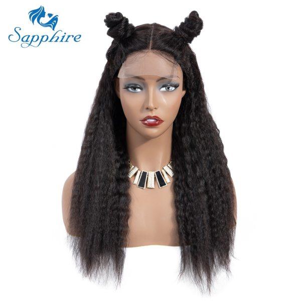 Sapphire 4 4 Deep Part Lace Wigs Brazilian Human Hair Wigs Pre Plucked Yaki Straight Kinky Sapphire 4*4 Deep Part Lace Wigs Brazilian Human Hair Wigs Pre Plucked Yaki Straight Kinky Straight Lace Closure Wigs For Women