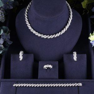 jankelly Hotsale African 4pcs Bridal Jewelry Sets New Fashion Dubai Jewelry Set For Women Wedding Party Innrech Market.com